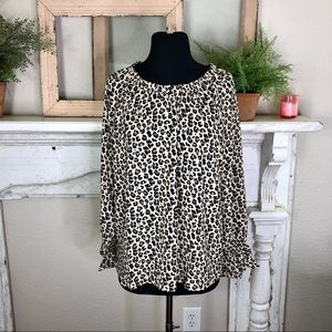 Banana Republic Gathered Neck Leopard Print Blouse